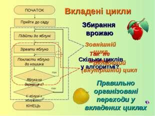 Зовнішній цикл Правильно організовані переходи у вкладених циклах Вкладені ци