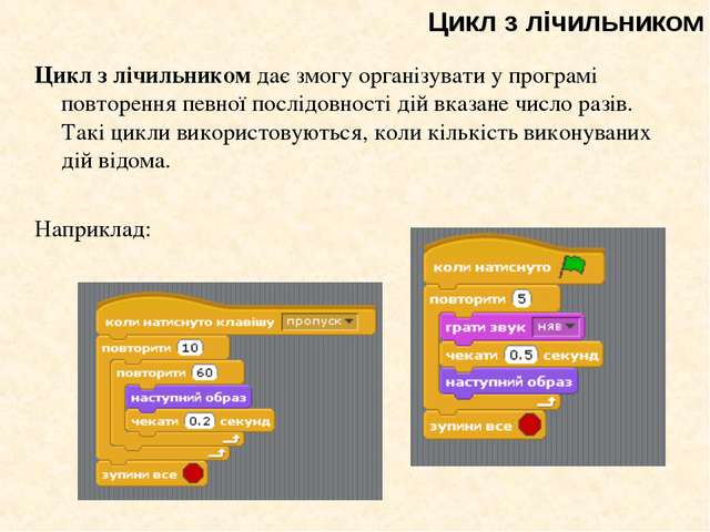 Цикл з лічильником дає змогу організувати у програмі повторення певної послід...