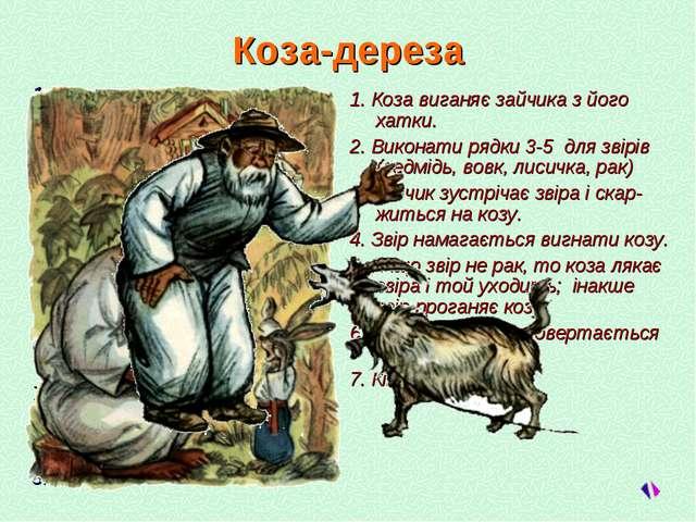 Коза-дереза 1. Дід купує козу. 2. Повторити рядки 3-7 для ро-дичів (старший с...