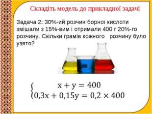 Складіть модель до прикладної задачі Задача 2: 30%-ий розчин борної кислоти з