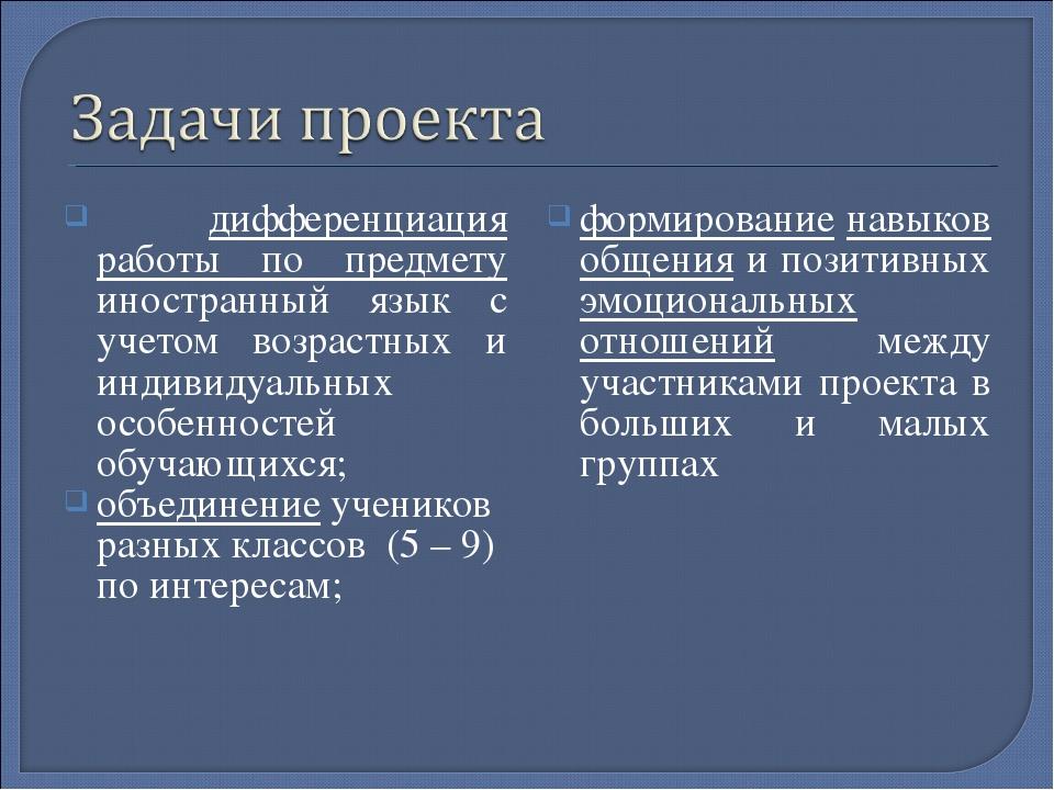 дифференциация работы по предмету иностранный язык с учетом возрастных и инд...