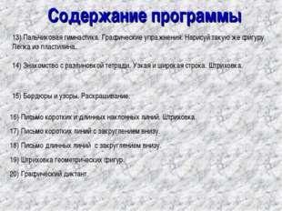 Содержание программы 13) Пальчиковая гимнастика. Графические упражнения. Нари