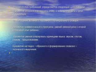 Исходя из этих требований определяются следующие цели и задачи: 1) развитие