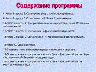 Содержание программы 8) Число 5 и цифра 5. Соотношение цифр с количеством пре