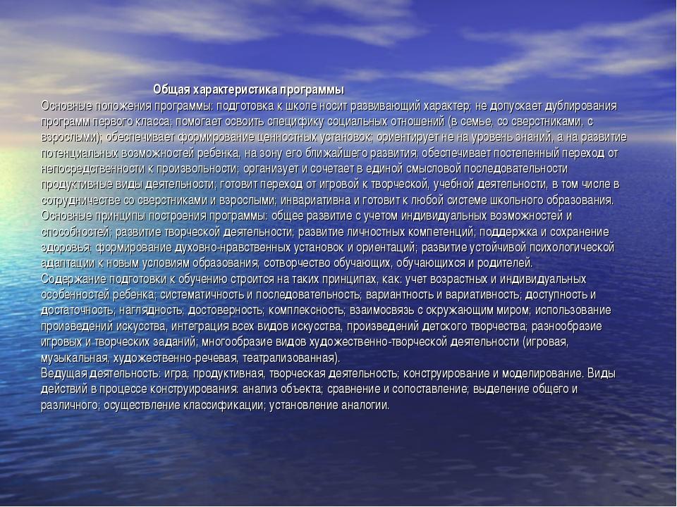 Общая характеристика программы Основные положения программы: подготовка к шк...