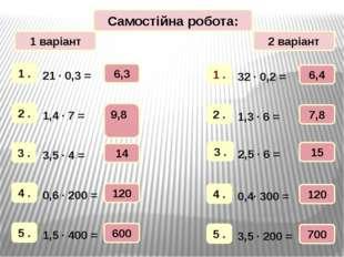 1 варіант 2 варіант Самостійна робота: 6,3 9,8 14 120 600 6,4 7,8 120 700 15