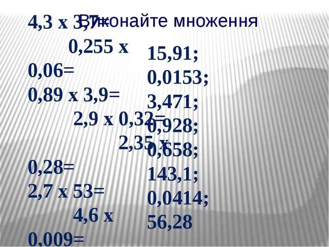 4,3 х 3,7= 0,255 х 0,06= 0,89 х 3,9= 2,9 х 0,32= 2,35 х 0,28= 2,7 х 53= 4,6 х...