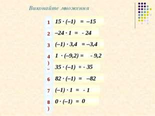 Виконайте множення 15 · (–1) = 1) –15 –24 · 1 = 2) - 24 (–1) · 3,4 = 3) –3,4