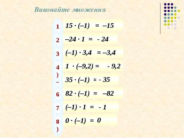 Виконайте множення 15 · (–1) = 1) –15 –24 · 1 = 2) - 24 (–1) · 3,4 = 3) –3,4...