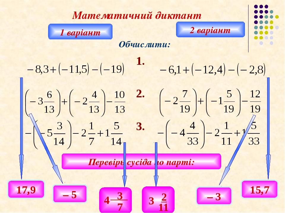Математичний диктант 1 варіант 2 варіант Обчислити: Перевірь сусіда по парті...