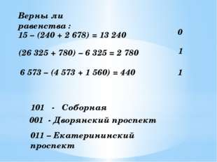 15 – (240 + 2 678) = 13 240 0 (26 325 + 780) – 6 325 = 2 780 6 573 – (4 573 +