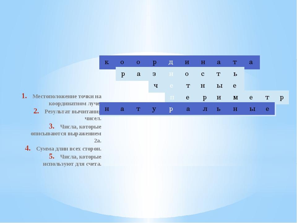 Местоположение точки на координатном луче. Результат вычитания чисел. Числа,...