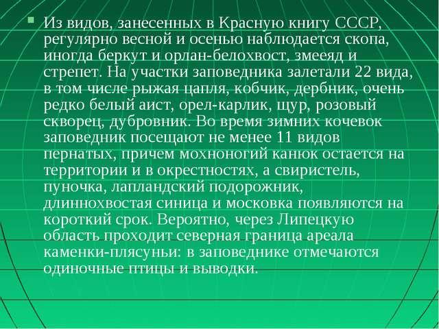 Из видов, занесенных в Красную книгу СССР, регулярно весной и осенью наблюдае...