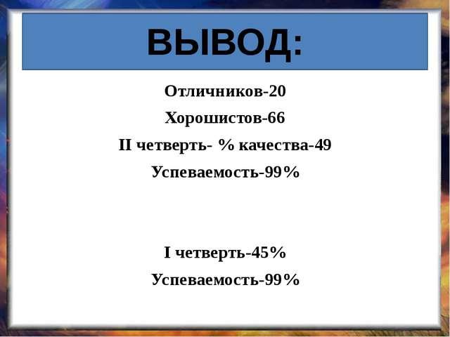 ВЫВОД: Отличников-20 Хорошистов-66 II четверть- % качества-49 Успеваемость-99...