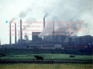 Every year world industry pollutes the atmosphere with about 1000 million to