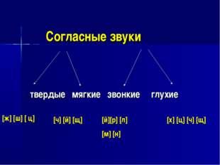 Согласные звуки твердые мягкие звонкие глухие [ж] [ш] [ ц] [ч] [й] [щ] [й
