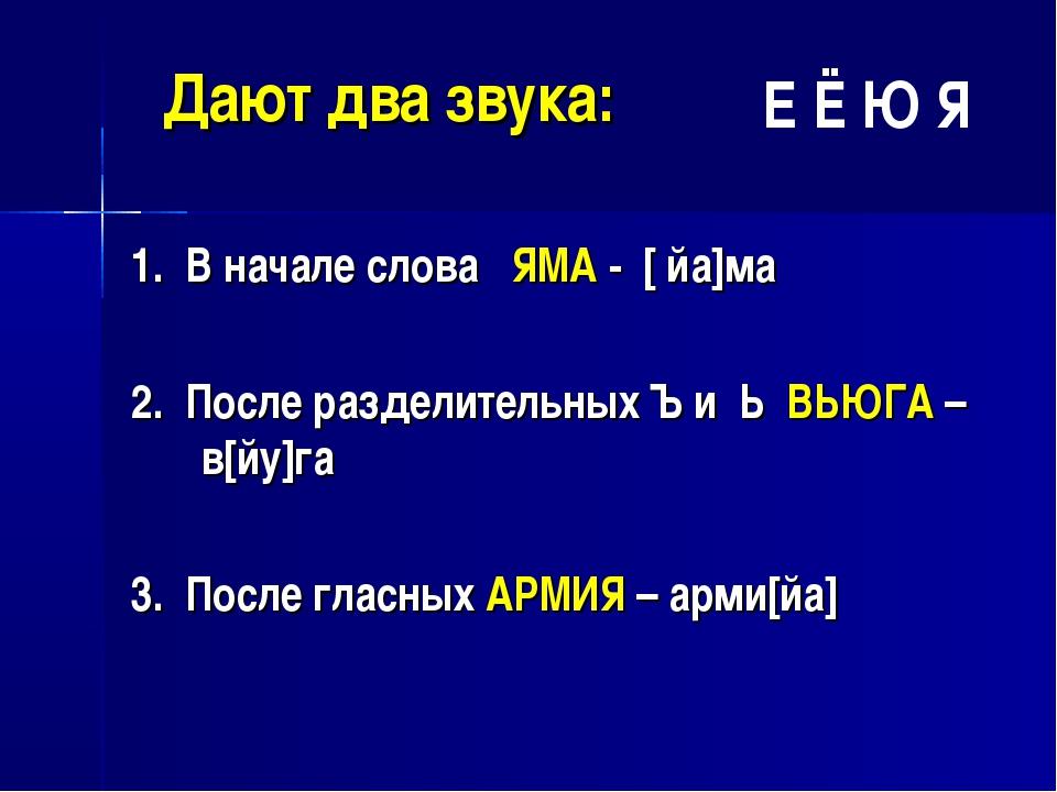 Дают два звука: 1. В начале слова ЯМА - [ йа]ма 2. После разделительных Ъ и...