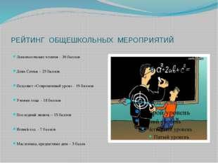РЕЙТИНГ ОБЩЕШКОЛЬНЫХ МЕРОПРИЯТИЙ Ломоносовские чтения - 36 баллов День Семьи