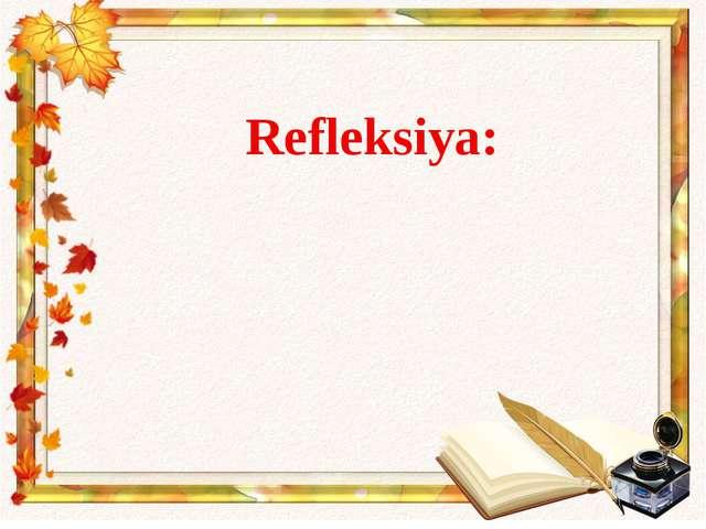 Refleksiya: