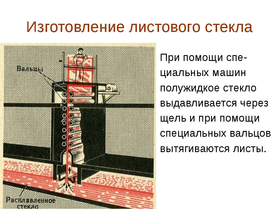 Изготовление листового стекла При помощи спе- циальных машин полужидкое стекл...