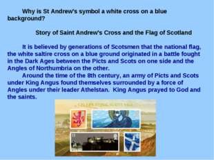 Why is St Andrew's symbol a white cross on a blue background? Story of Saint