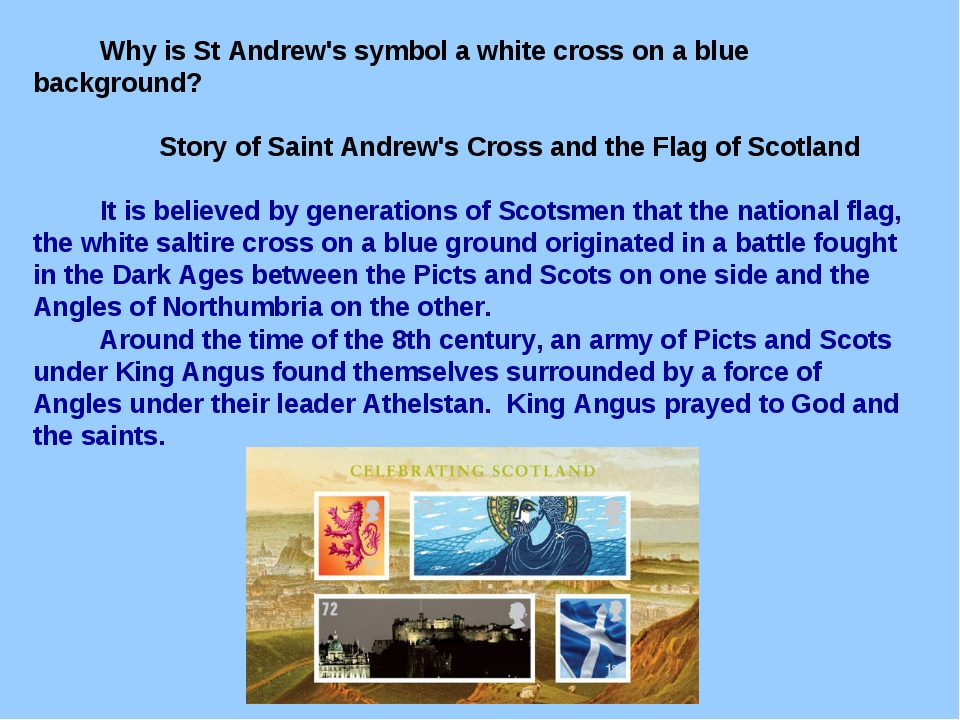 Why is St Andrew's symbol a white cross on a blue background? Story of Saint...