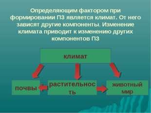 Определяющим фактором при формировании ПЗ является климат. От него зависят др