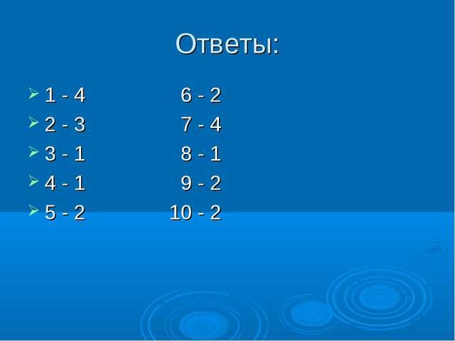Ответы: 1 - 4 6 - 2 2 - 3 7 - 4 3 - 1 8 - 1 4 - 1 9 - 2 5 - 2 10 - 2