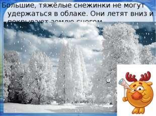 Большие, тяжёлые снежинки не могут удержаться в облаке. Они летят вниз и покр