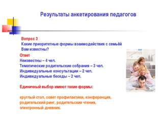 Результаты анкетирования педагогов Вопрос 3 Какие приоритетные формы взаимоде