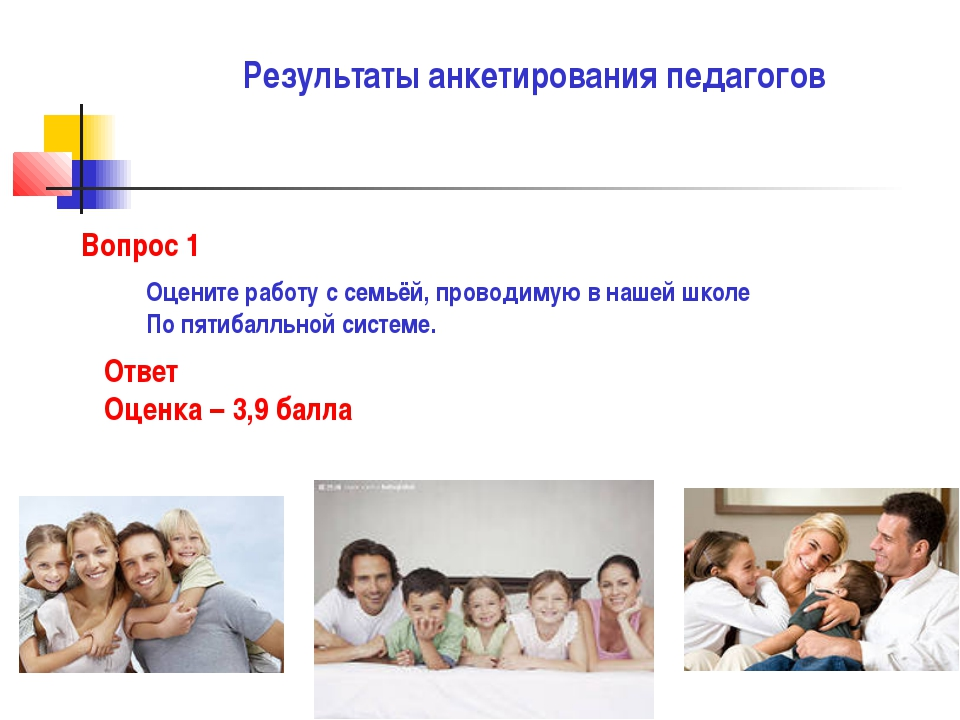Результаты анкетирования педагогов Вопрос 1 Оцените работу с семьёй, проводим...
