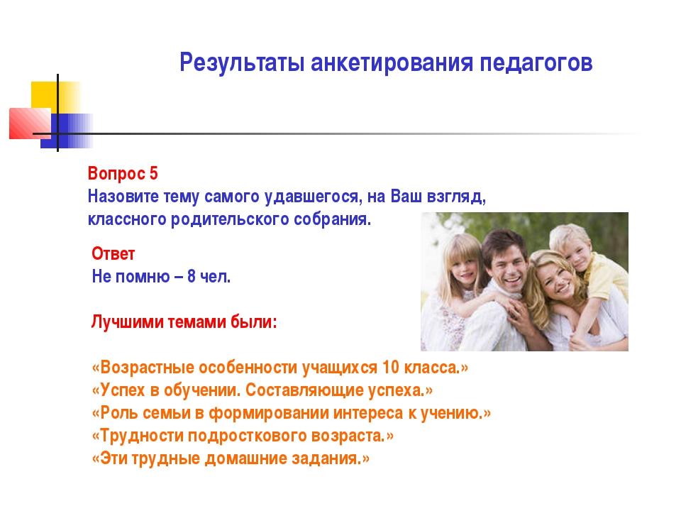 Результаты анкетирования педагогов Вопрос 5 Назовите тему самого удавшегося,...