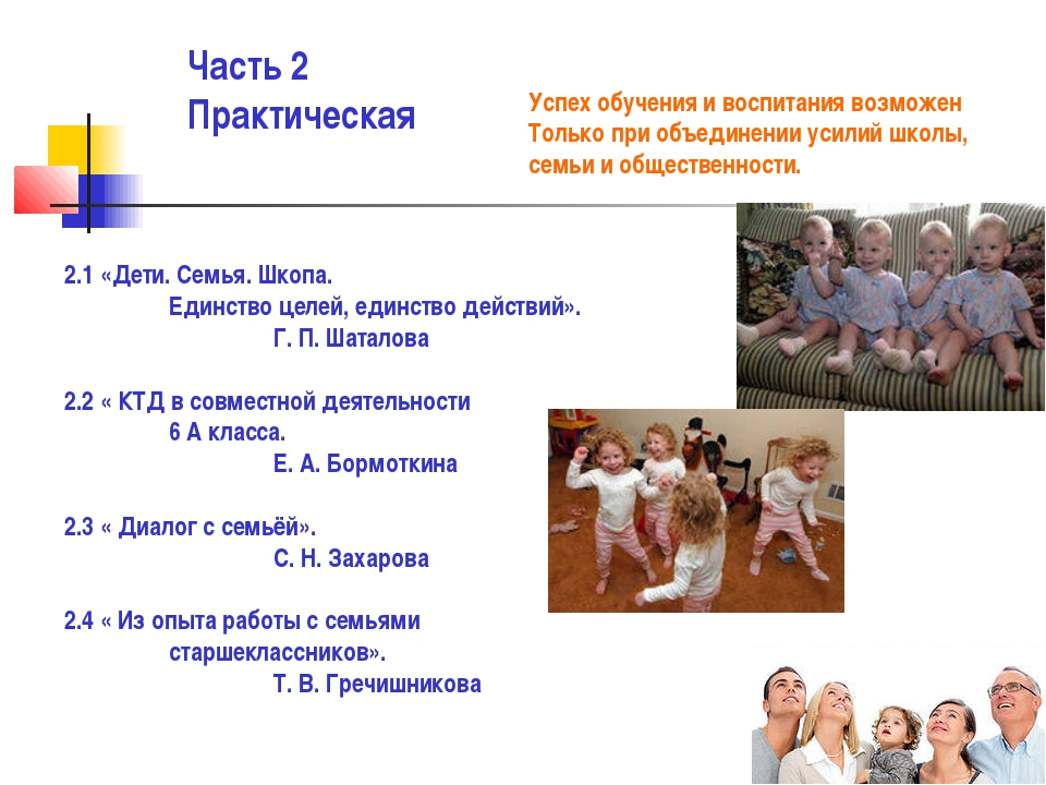 Часть 2 Практическая 2.1 «Дети. Семья. Шкопа. Единство целей, единство дейст...