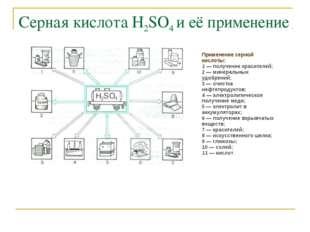 Серная кислота Н2SO4 и её применение Применение серной кислоты: 1 — получение