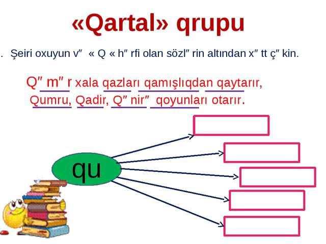«Qartal» qrupu Şeiri oxuyun və « Q « hərfi olan sözlərin altından xətt çəkin....