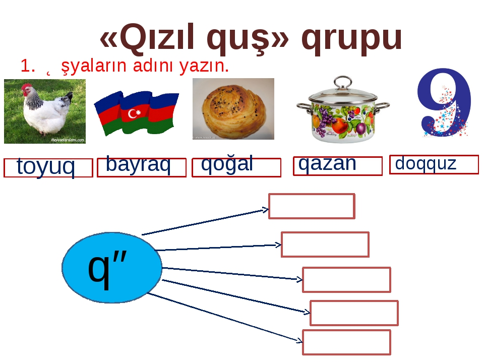 «Qızıl quş» qrupu 1. Əşyaların adını yazın. qazan qə bayraq qoğal qazan doqqu...