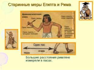 Старинные меры Египта и Рима Большие расстояния римляне измеряли в пасах.