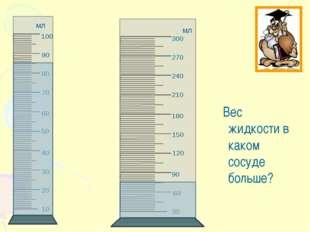 Вес жидкости в каком сосуде больше? 50 120 60 150 мл мл
