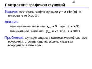 Построение графиков функций Задача: построить график функции y = 3 sin(x) на