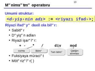Mənimsətmə operatoru Umumi struktur: Riyazi ifadəyə daxil ola bilər: Sabitlər