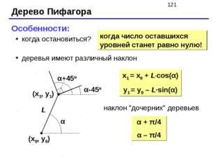 Дерево Пифагора Особенности: когда остановиться? деревья имеют различный накл