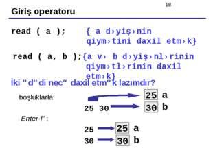 Giriş operatoru read ( a ); { a dəyişənin qiymətini daxil etmək} read ( a, b
