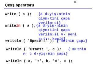 Çıxış operatoru write ( a ); {a dəyişəninin qiymətini çapa verilməsi} writeln