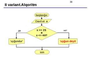 II variant.Alqoritm başlanğıc Daxil et x 'uyğundur' да нет x >= 25 и x
