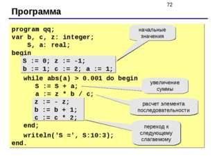 Программа program qq; var b, c, z: integer; S, a: real; begin S := 0; z := -1
