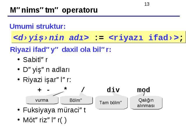 Mənimsətmə operatoru Umumi struktur: Riyazi ifadəyə daxil ola bilər: Sabitlər...
