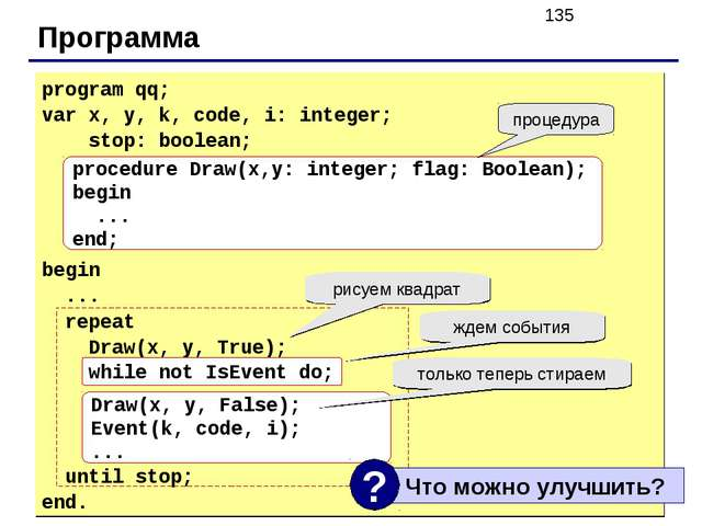 Программа program qq; var x, y, k, code, i: integer; stop: boolean; begin ......