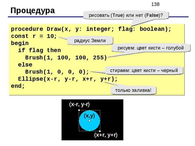 Процедура procedure Draw(x, y: integer; flag: boolean); const r = 10; begin i...