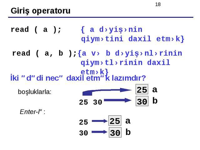 Giriş operatoru read ( a ); { a dəyişənin qiymətini daxil etmək} read ( a, b...