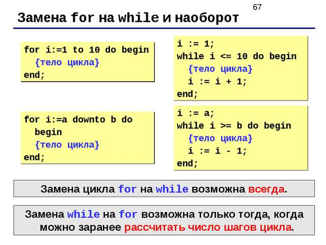 Замена for на while и наоборот for i:=1 to 10 do begin {тело цикла} end; i :=...